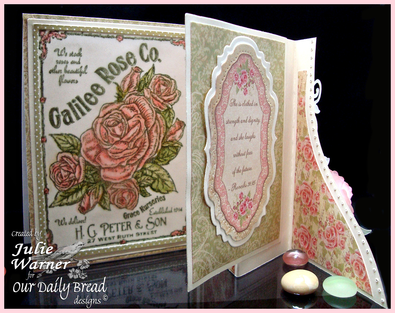 Stamps - Our Daily Bread Designs Galilee Rose Co., Rose,  ODBD Bushing Rose Paper Collection, ODBD Custom Zinnia & Leaves Die, ODBD Custom Fancy Foliage Die, ODBD Custom Vintage Flourish Pattern Die