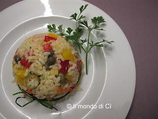 Insalata di riso estiva, presentazione a cupoina