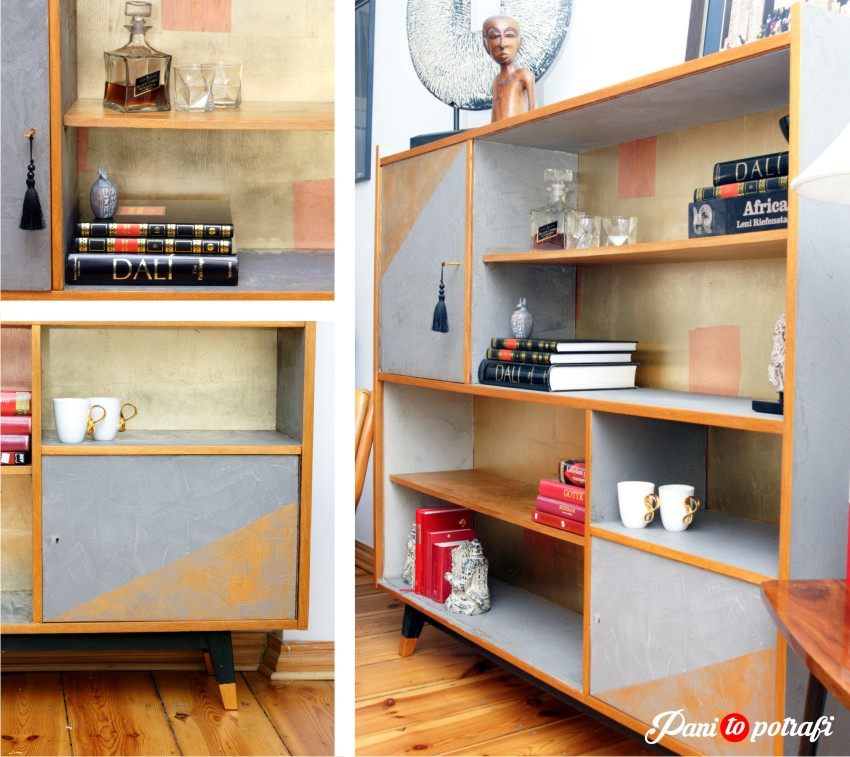 Cabinet covered with concrete