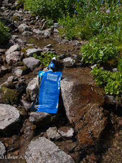 Sawyer water filter, alpine spring water, above Columbine Lake, Montana.