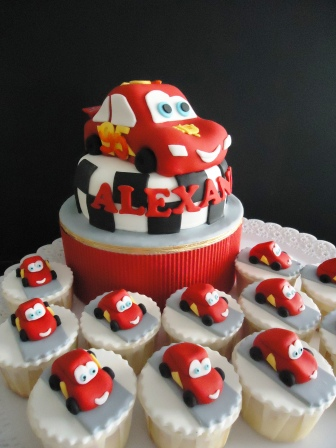 wedding cakes Lightning McQueen Carved Cakes and Cupcakes