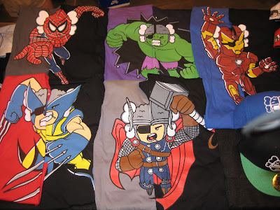 The Avengers Atama Collection by Loyal K.N.G. - Spider-Man, The Incredible Hulk, Iron Man, Wolverine & Thor T-Shirts