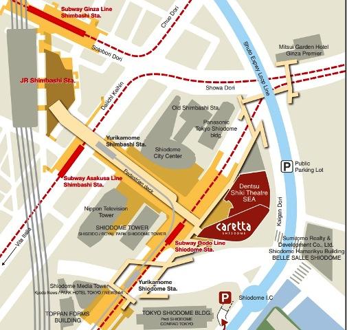 caretta shiodome tokyo map