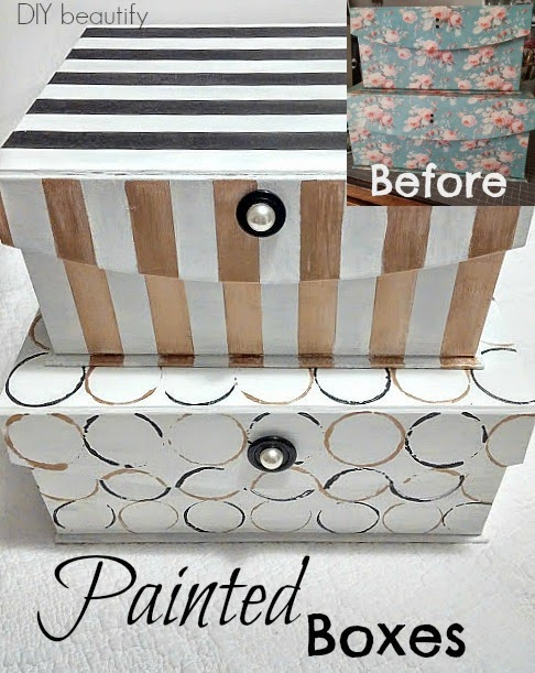 Painting storage boxes www.diybeautify.com