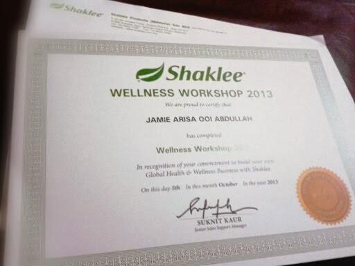 Sijil Penghargaan dari Shaklee