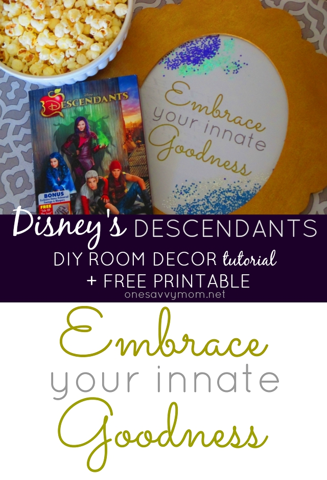 Disney's Descendants DIY Room Decor Tutorial + Free Printable  Mal and Evie Craft Tutorial One Savvy Mom onesavvymom blog nyc