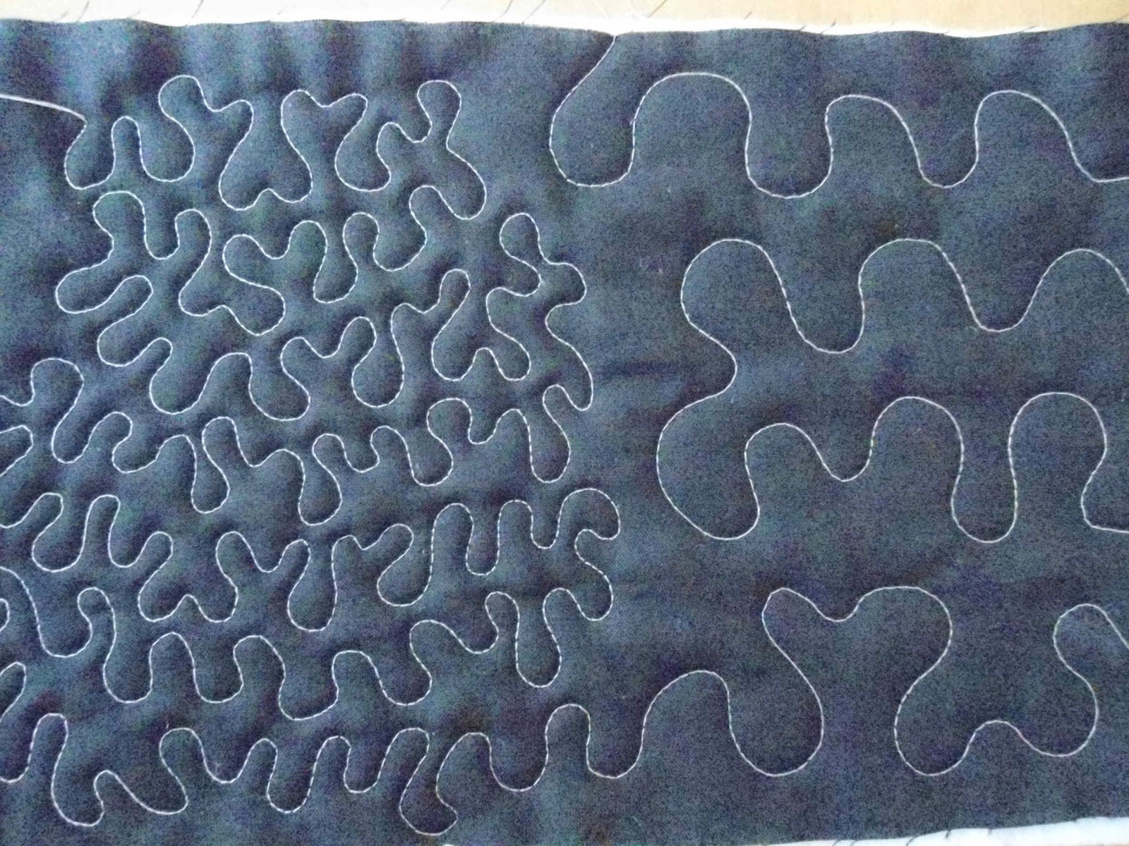 Blue Quilt Featuring Meandering Design