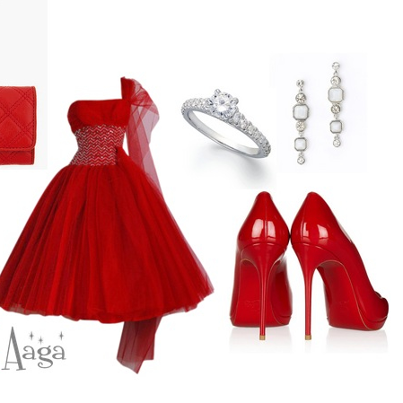 Red stylish party dress combination with white jewelry