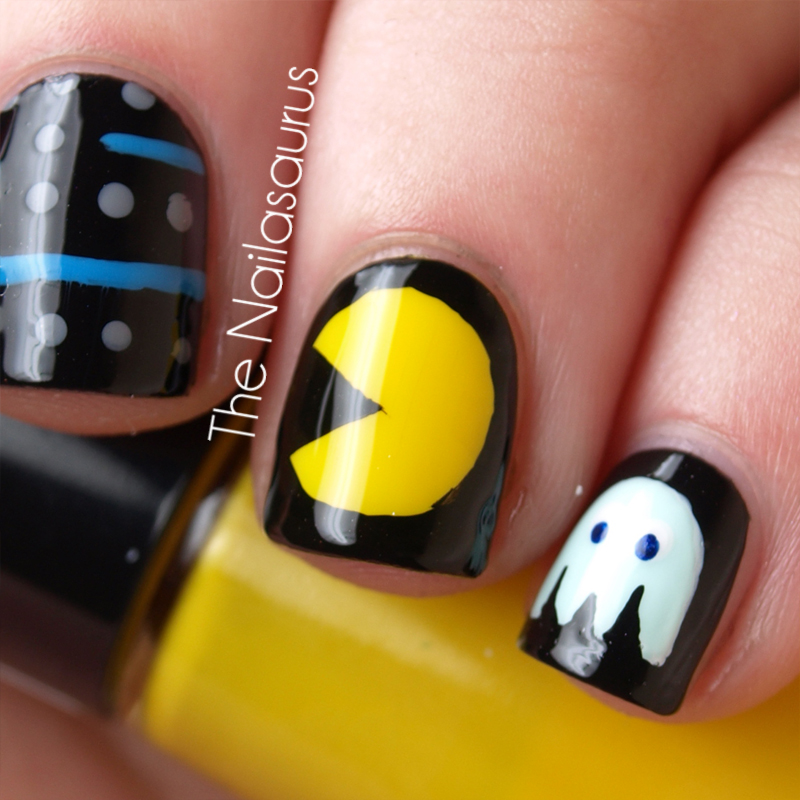 Pac man nail art the nailasaurus uk nail art blog i used yellow george buttercup shine as a base for my ring finger and black rimmel black satin for all the others i used a nail art brush to freehand prinsesfo Image collections