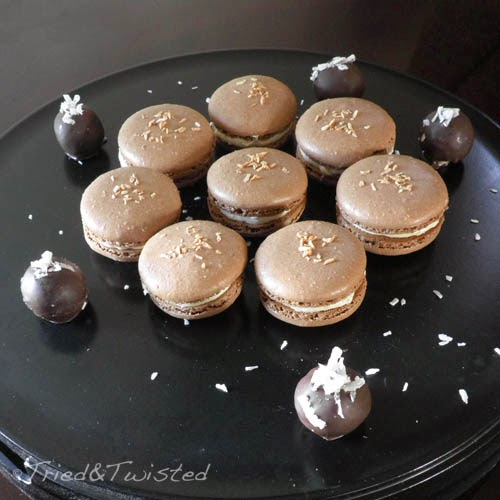 Coconut Curd and Chocolate Macarons