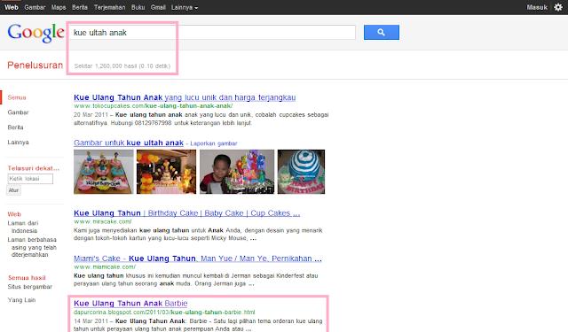 Keyword Kue Ultah Anak di SERP Google Indonesia