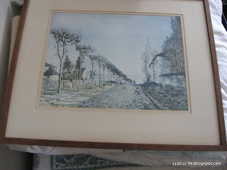 watercolour painting of tree-lined path, print of painting by Alfred Sisley