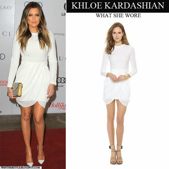 Khloe Kardashian in white drapped mini dress by A.L.C. Want Her Style Red Carpet