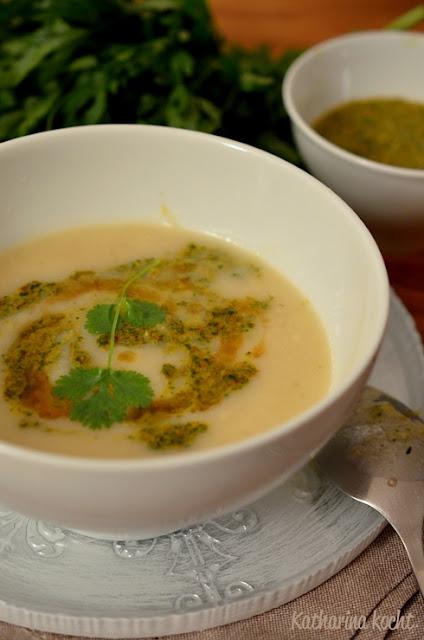 Sellerie Suppe weiße Bohnen Chermoula Knoblauch Zitrone Koriander Petersilie