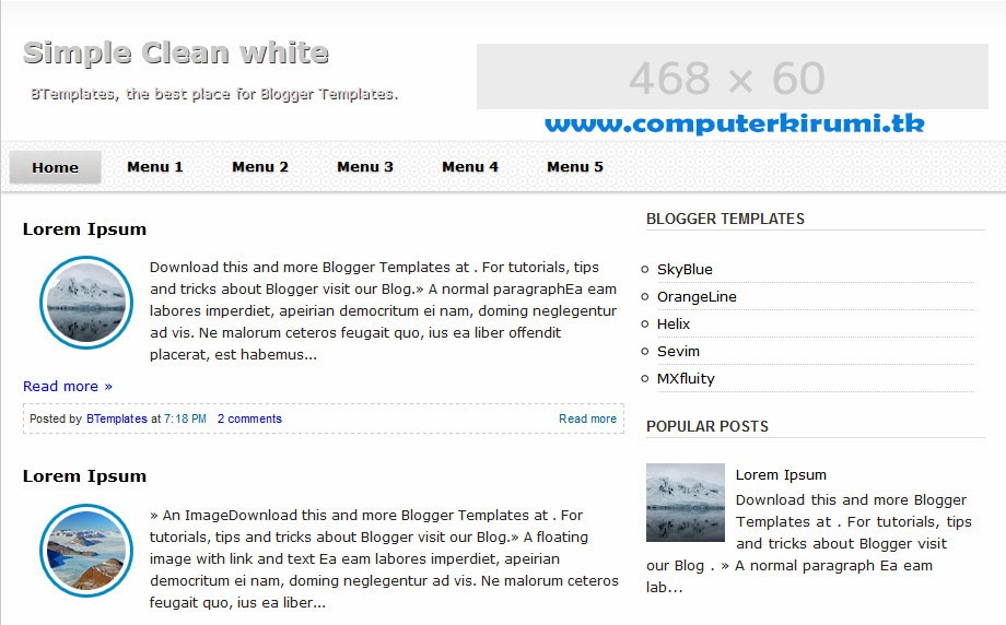 Clean and White-simple BLOGGER TEMPLATE