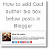 Add Cool Author Bio Box below posts in Blogger blogs