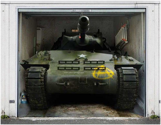Garage Door Decoration Stickers:Army Tank