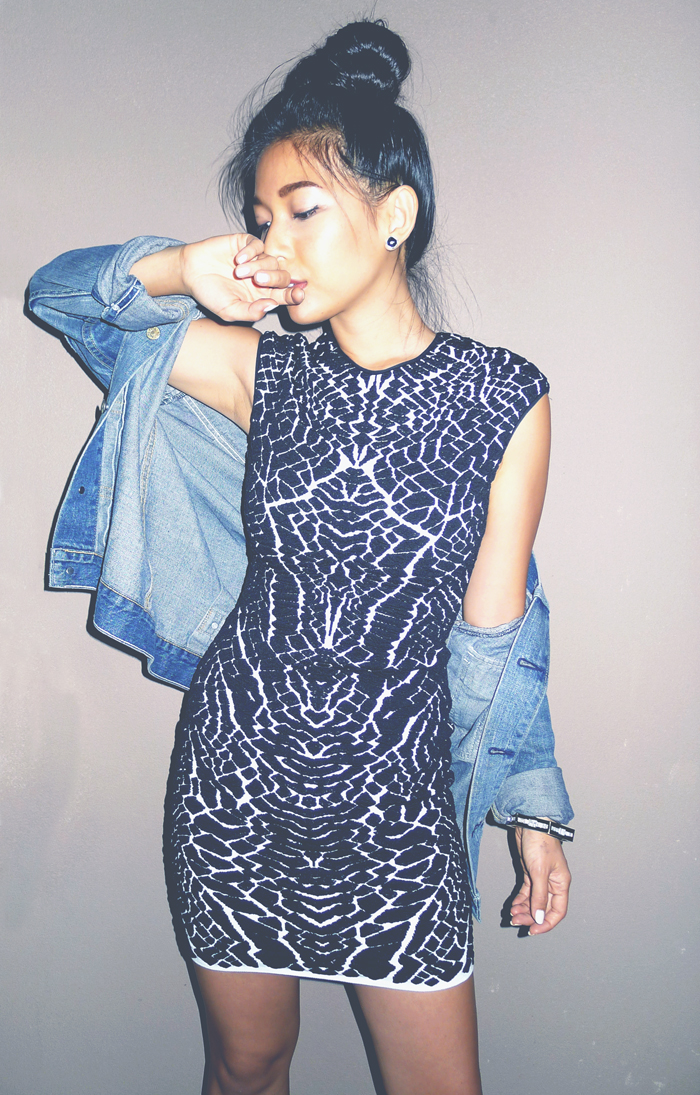 Stephanie Liu of Honey & Silk wearing RVN Alligator Jacquard Dress, Levi's denim jacket, CC Skye bracelet, and Nasty Gal Shoe Cult Flux boots