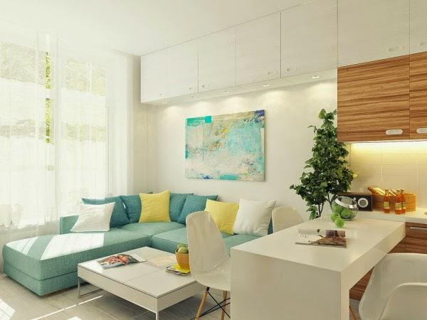 Paredes en azul turquesa decorar tu casa es for Decorar un minipiso