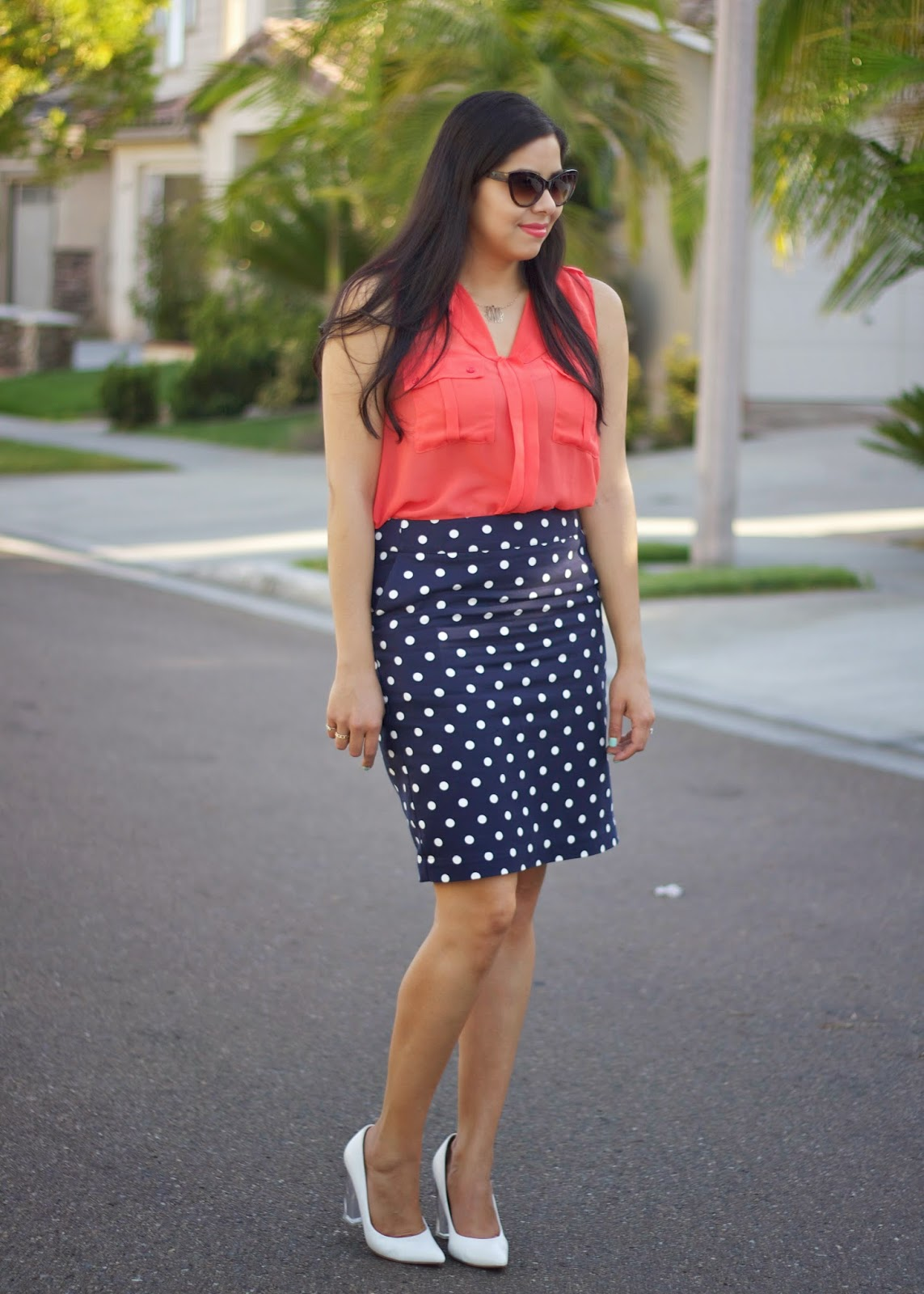 Navy polka dot Target pencil skirt, Navy polka dot pencil skirt, what to wear with polka dots