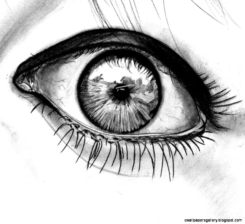 Black and White Eye Drawing