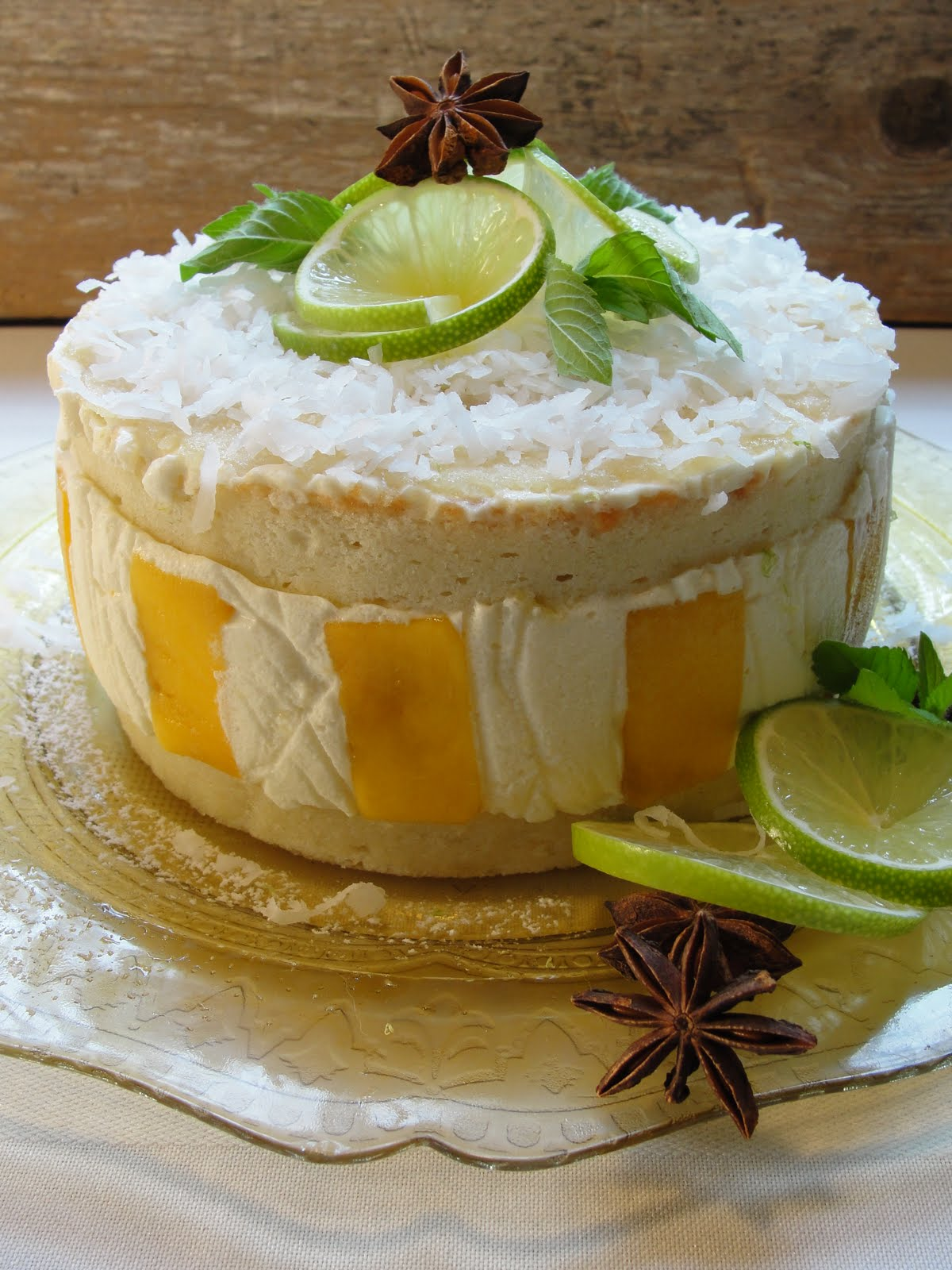 Coconut lime chiffon cake soaked in star anise and mint syrup, ginger ...