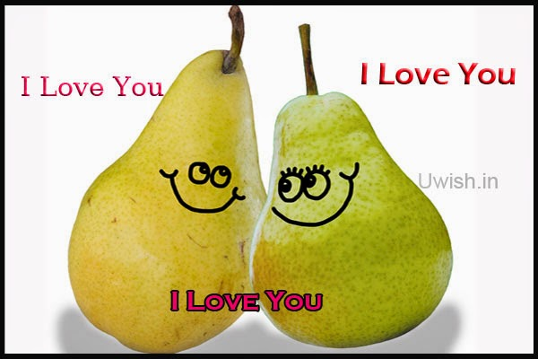 I Love You e greeting cards and wishes with all smiles on two pear fruits.