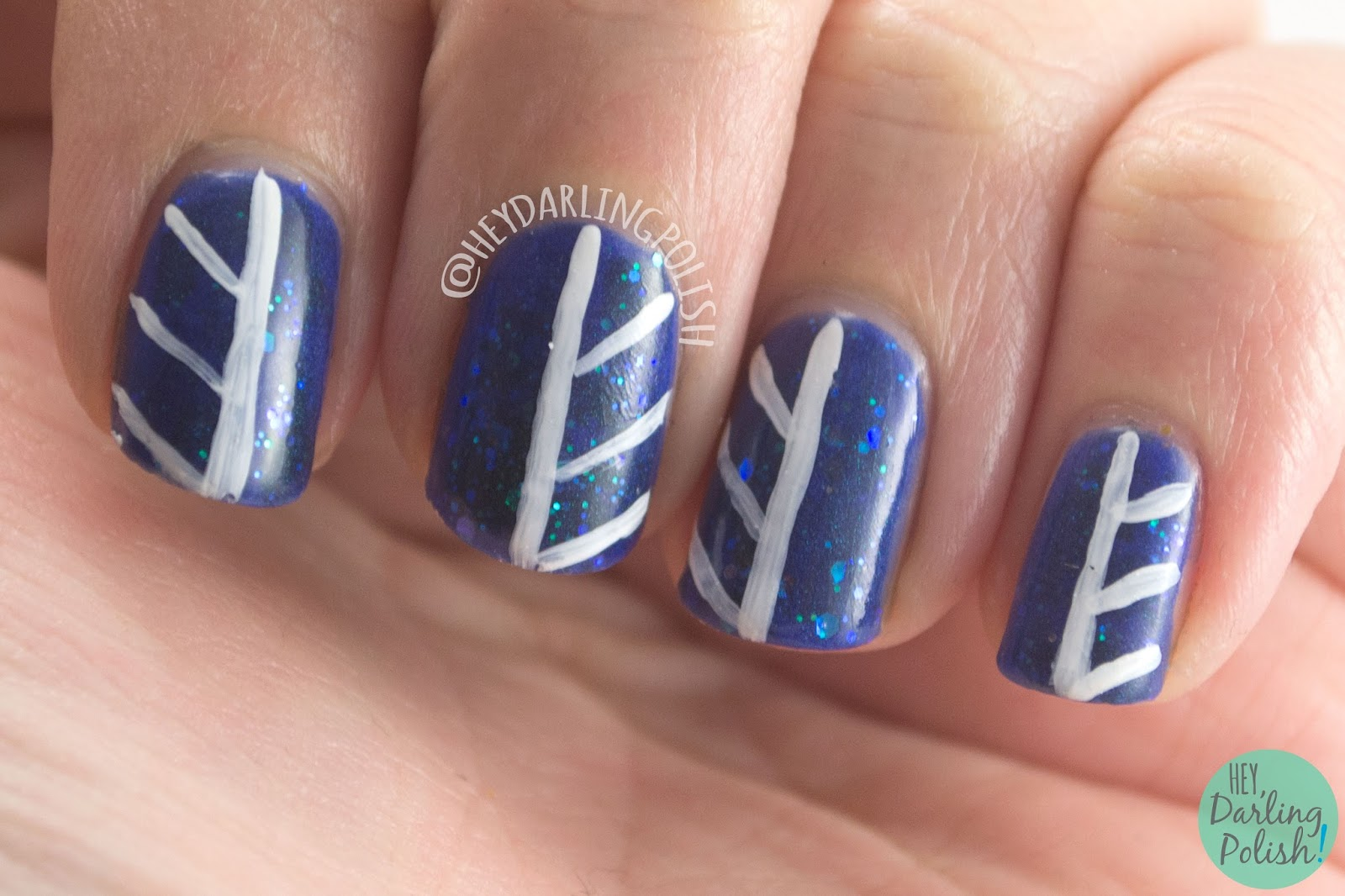 nails, nail art, nail polish, indie polish, blue, spell polish, hey darling polish, lines, stripes, glitter,