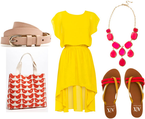 summer yellow high low dress