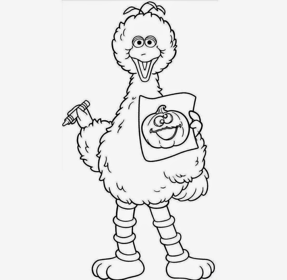 Big Bird For Kid Coloring Drawing Free Wallpaperd