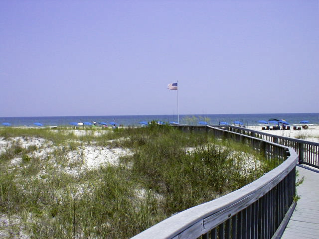 flag at end of boardwalk