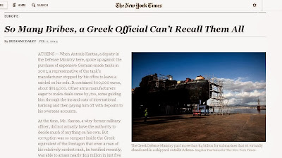"NEW YORK TIMES: ""Τόσες πολλές μίζες, που Έλληνας αξιωματούχος δεν μπορεί να τις θυμηθεί όλες"". Εξαιρετικό ρεπορτάζ των NYT για δωροδοκίες εξοπλιστικών & Siemens."