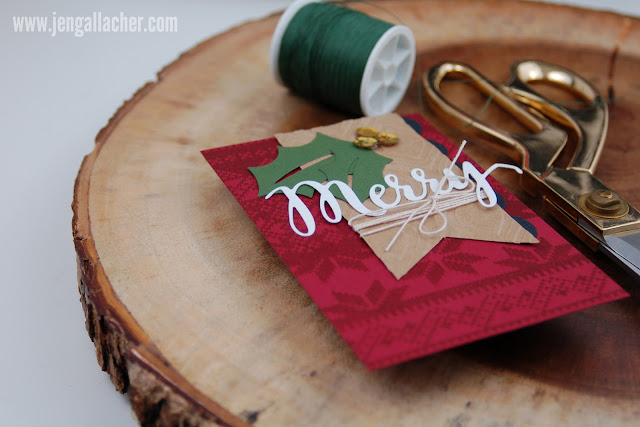 """Merry"" stamped and die cut #christmascard by Jen Gallacher."