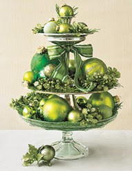 green ornaments stacked cake plates Christmas table