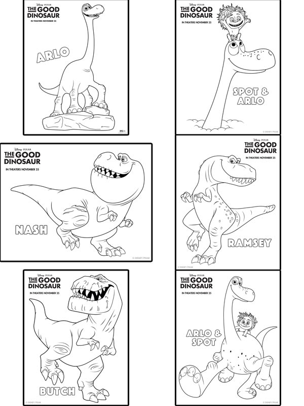 Free printable coloring and activity sheets for Disney Pixar's The Good Dinosaur Movie