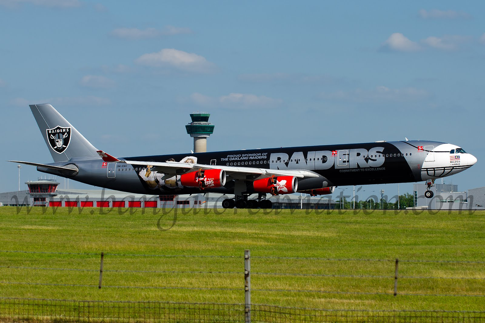 AirAsia X Airbus A340-300 in NFL Oakland Raiders football team livery at London Stansted Airport