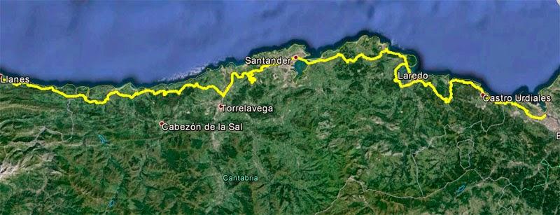 Camino del Norte a su paso por Cantabria.