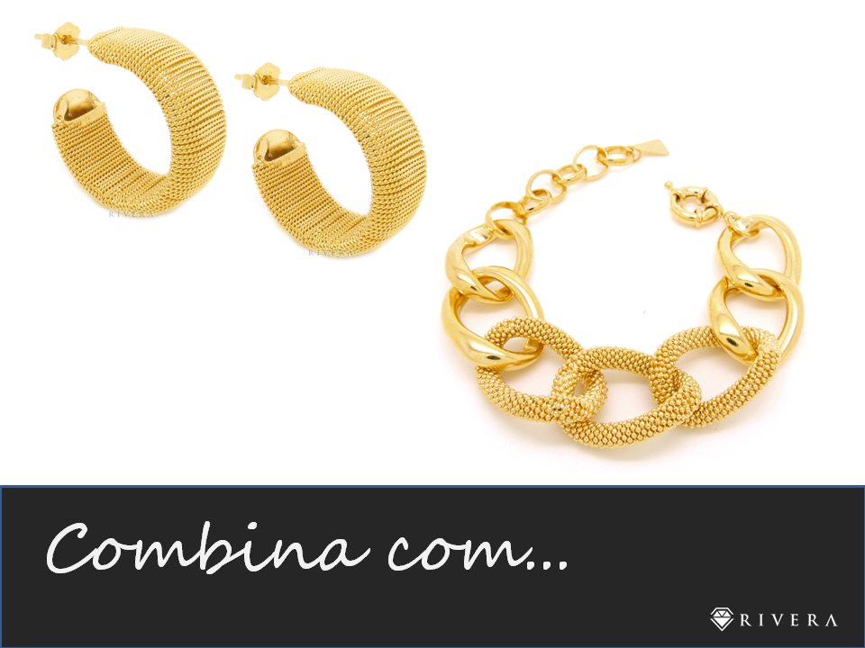 brinco e pulseira dourados