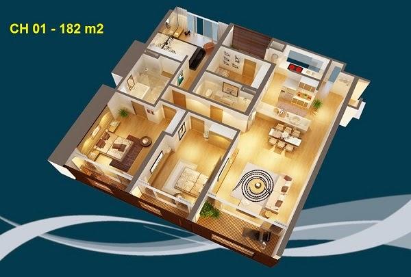 Thiết kế chi tiết căn hộ 01 - 182m2 chung cư Dolphin palza 28 trần bình