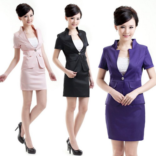 Work wear uniforms formal women suit skirt slim fashion blazer set female suits