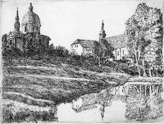 Ekkehard Bartsch: Kloster  Neuzelle, Strichätzung,Aquatinta