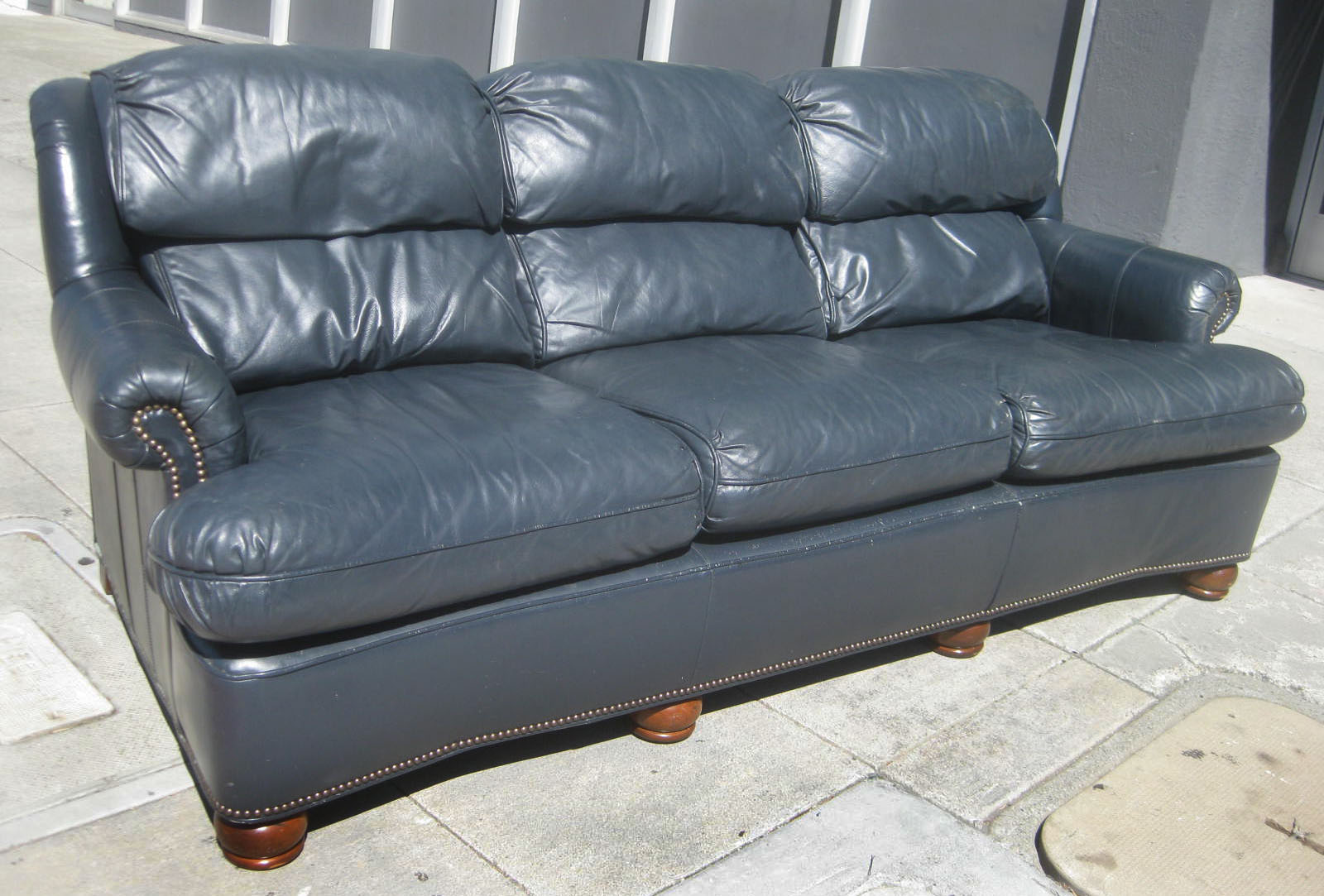 Blue leather brown leather ottoman leather for Blue leather sofa