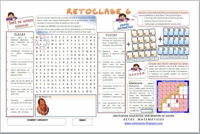 Día del Idioma, Retos matemáticos, Problemas matemáticos, Desafíos matemáticos, Matemática y Español, Criptoaritmética, Sopa de Letras Circular, Kakuro