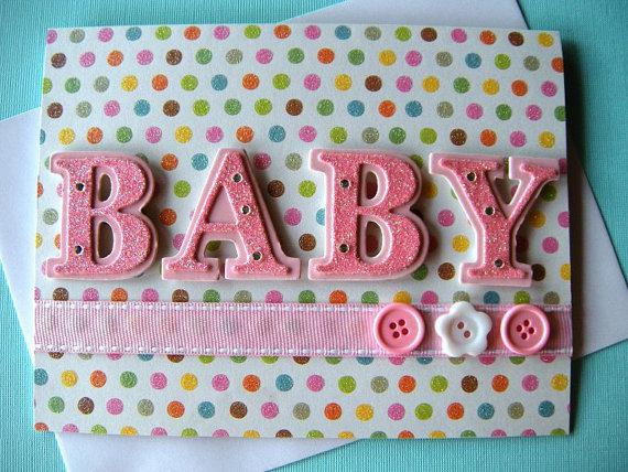 sweet pink polka dot baby girl congratulations card 350