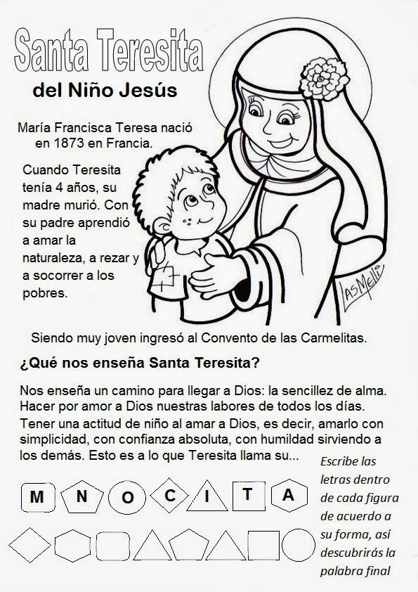 PARA COLOREAR: Santa Teresita del Niño Jesús