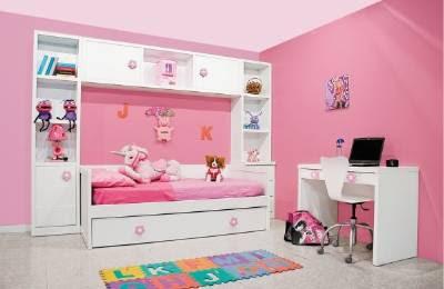 Dormitorio juvenil con cama nido blanca lacada y puente de for Cama nido con cajones blanca