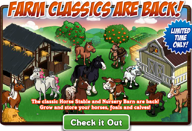 Farmville Horse Stable and Nursery Barn Coming Back for a Limited period of Time!