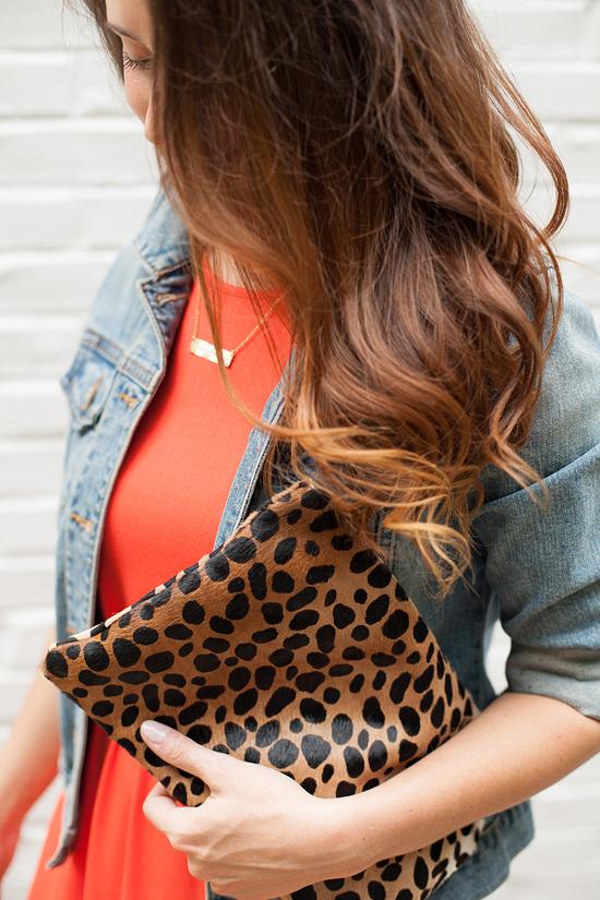 Clare V. leopard clutch