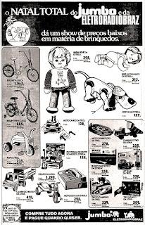 Supermercado Jumbo - Eletroradiobraz; anos 70.  década de 70. os anos 70; propaganda na década de 70; Brazil in the 70s, história anos 70; Oswaldo Hernandez;