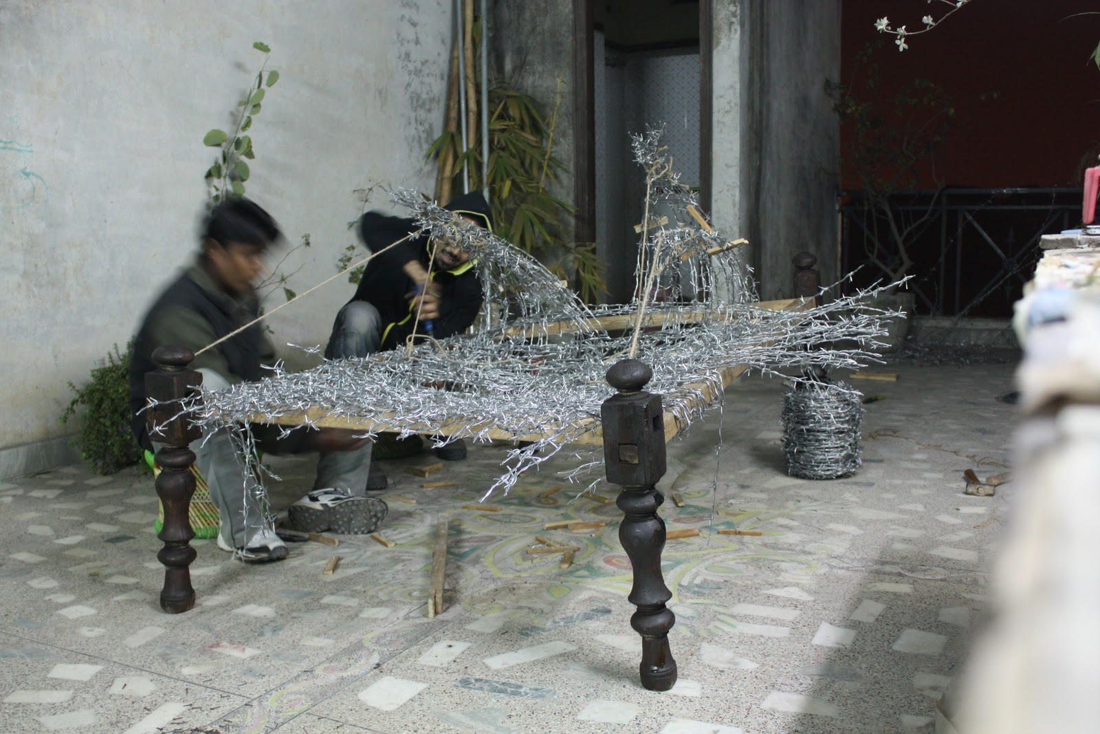 Weaving in, barbed wire, mild steel, wood, rope, 4 x 6 x 3.5 feet ...